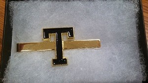 "Gold Tie Clip w/Black ""T"" - Comes in a Black Gift Box"